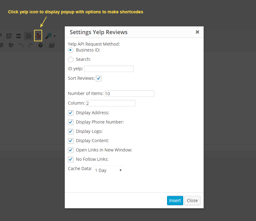 Yelp for WordPress Shortcodes