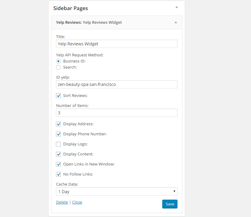 Yelp for WordPress Widget