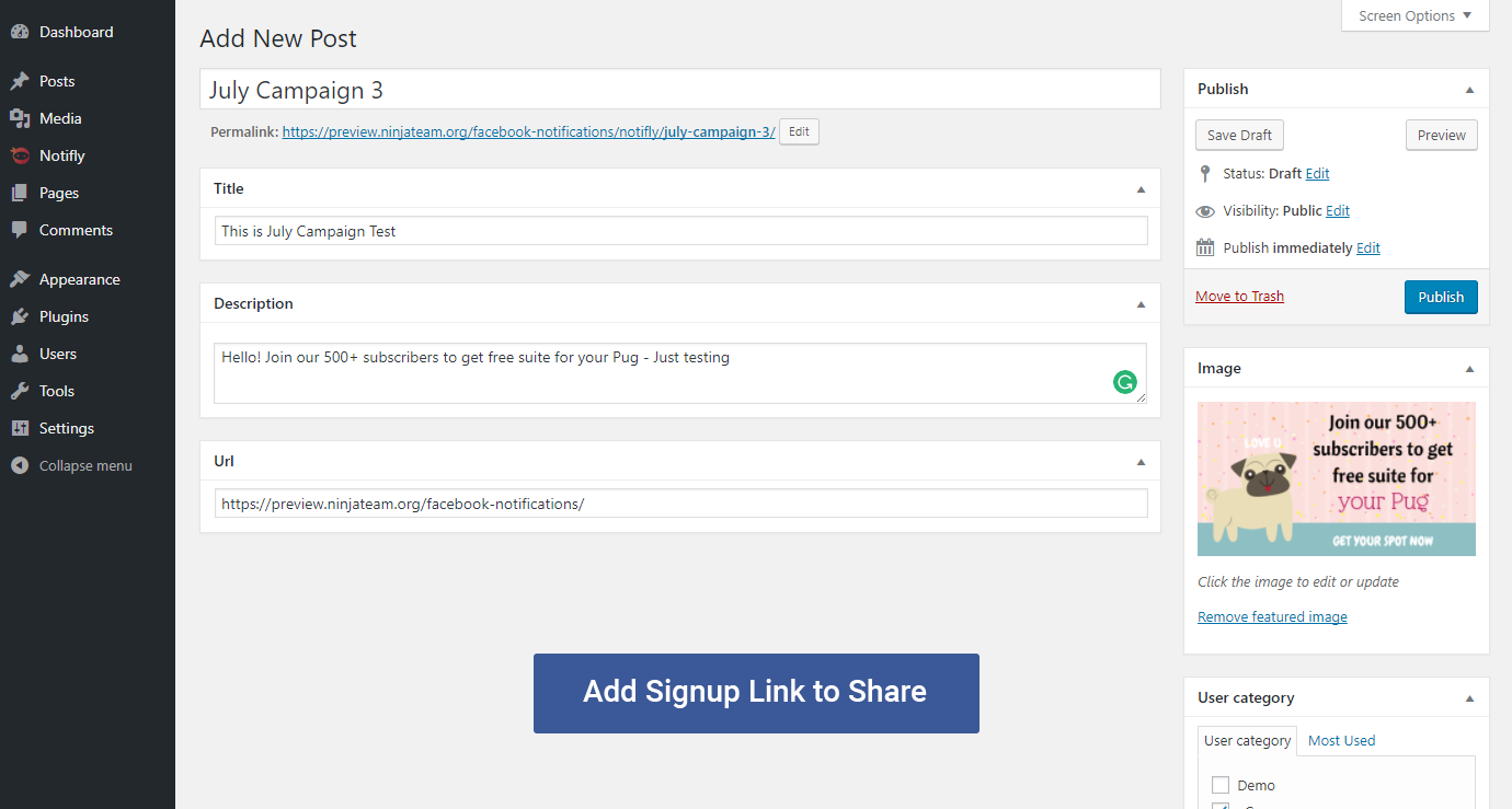 how to add email signup to facebook page