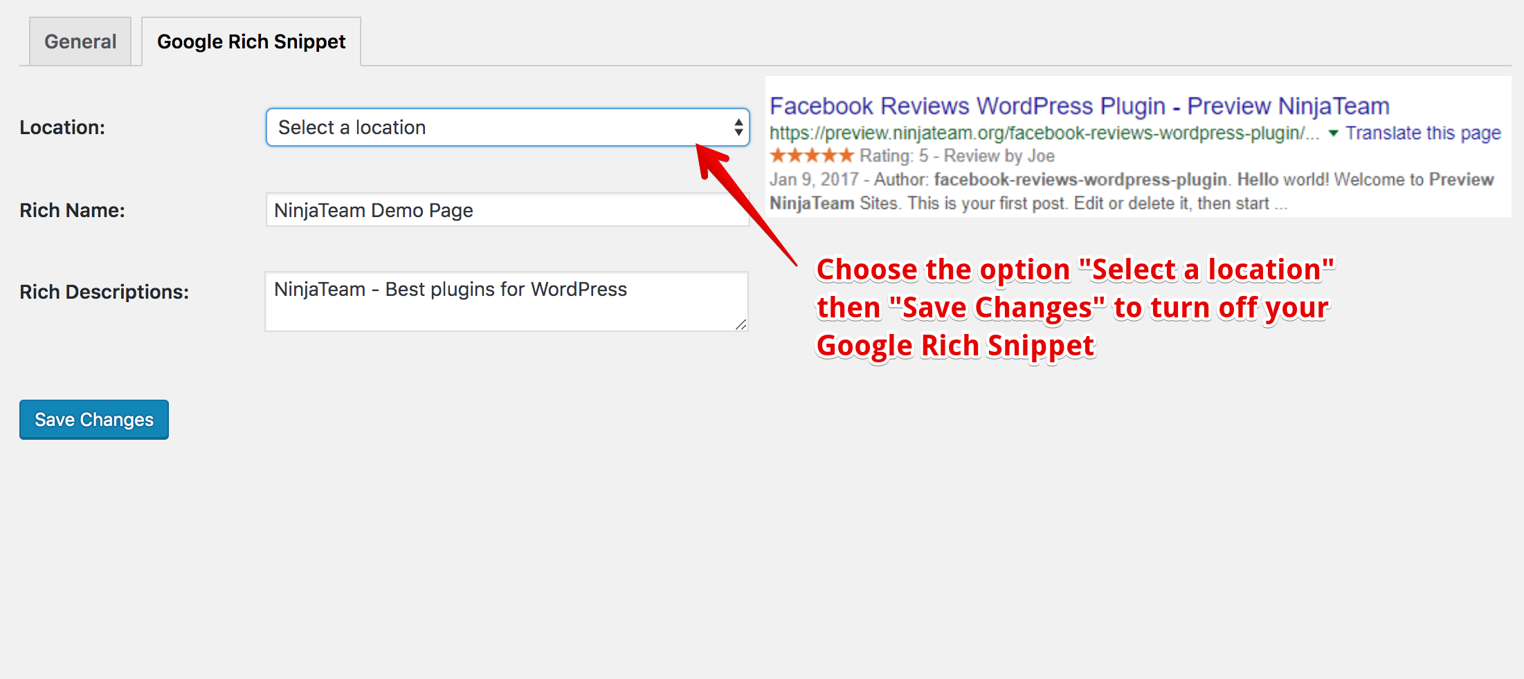 Google Rich Snippet - Option turn off