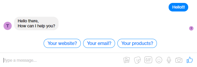 Messenger chat bot pre-chat