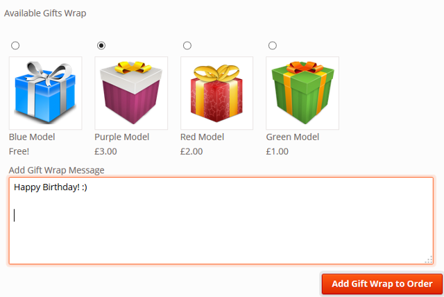 gift wrap products in WooCommerce store