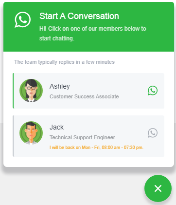 WhatsApp widget appearance