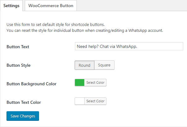 WhatsApp click to chat settings