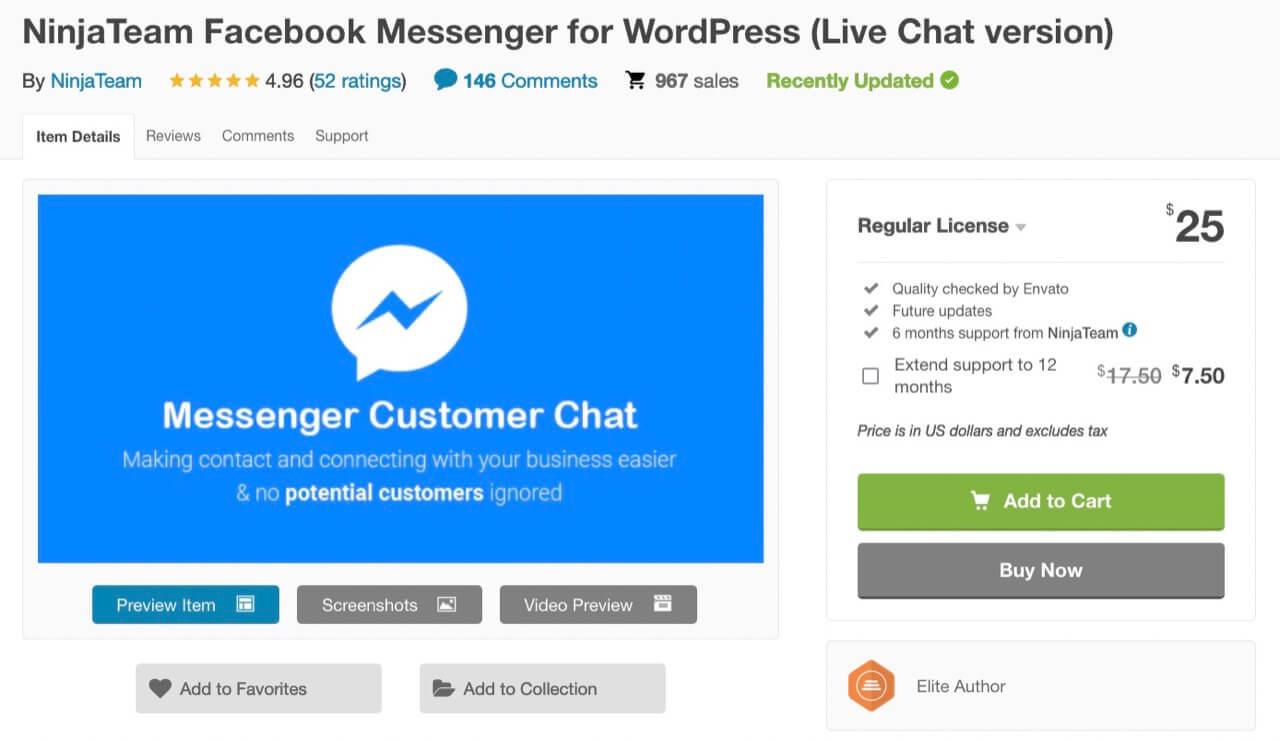 NinjaTeam Facebook Messenger plugin for WordPress