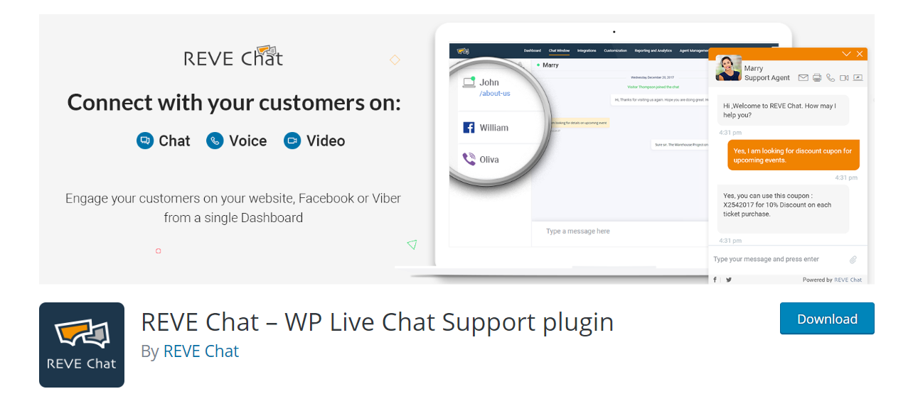 REVE Chat – WP Live Chat Support plugin