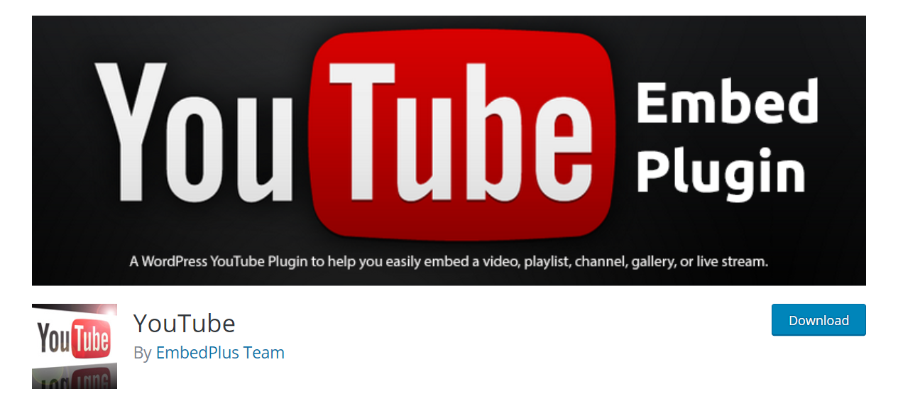 Youtube WordPress Plugin – EmbedPlus Team
