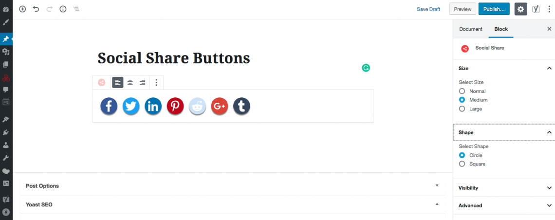 Ultimate Blocks social share buttons
