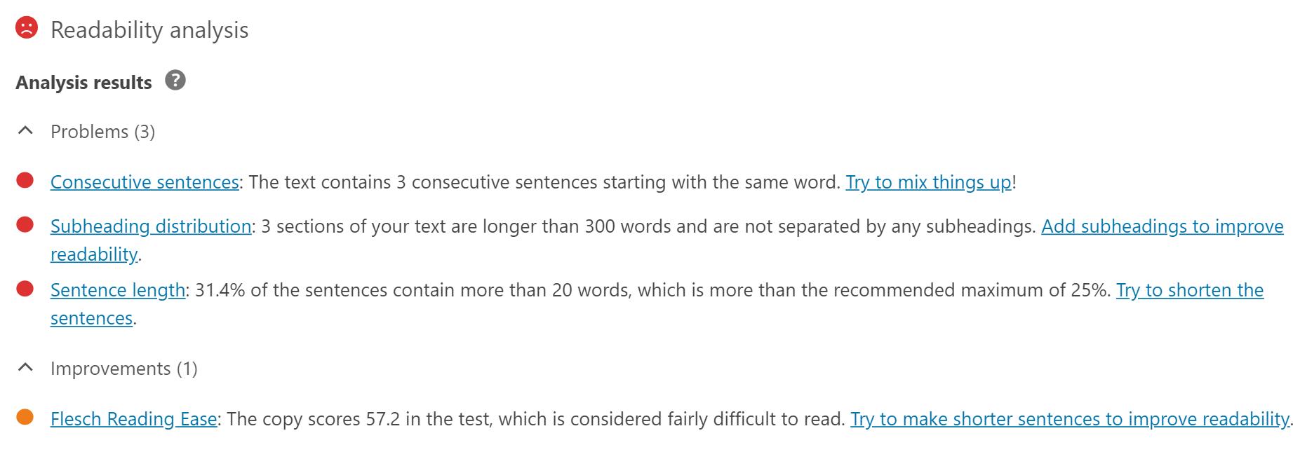 WordPress SEO by Yoast readability