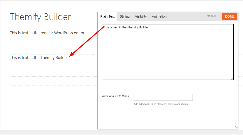 themify builder inline text