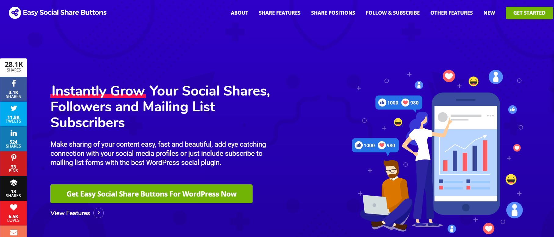easy social sharing buttons
