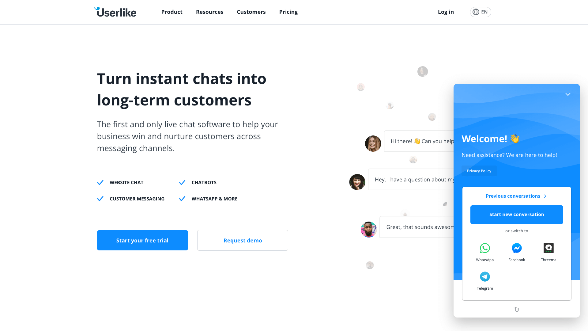 WhatsApp button and support chat by Userlike
