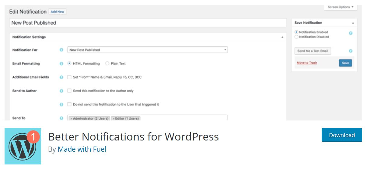 better notifications for wordpress