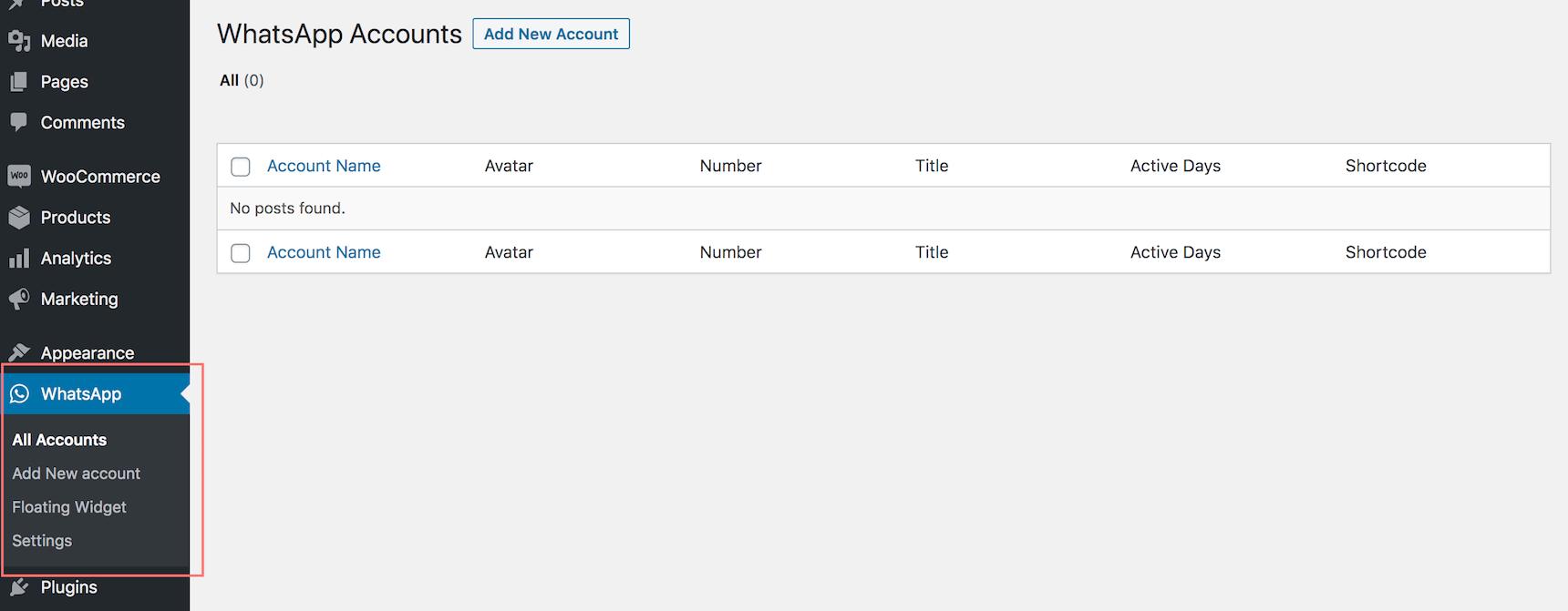 Add new account in WhatsApp plugin dashboard