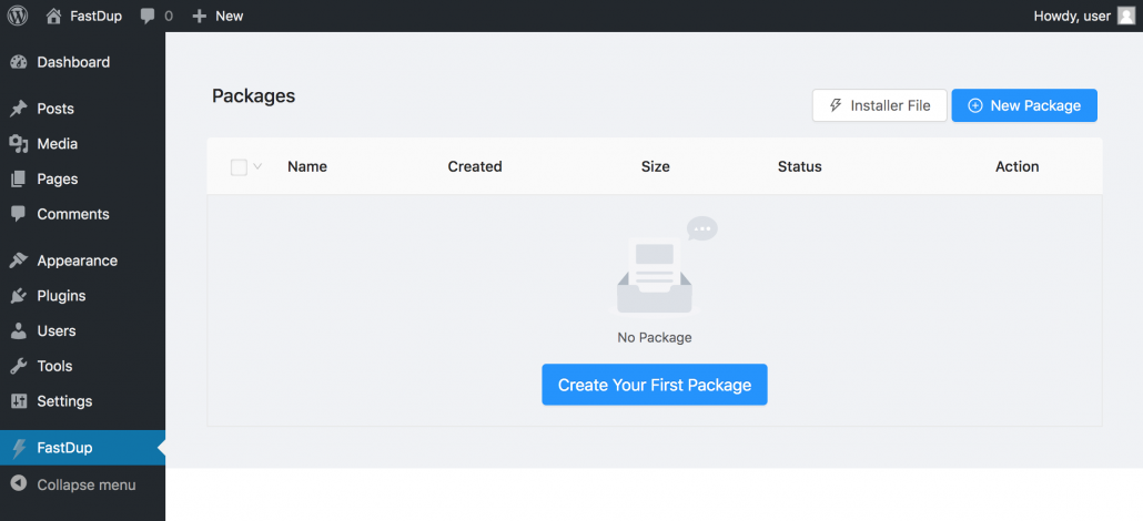 FastDup - Create new package in WordPress dashboard