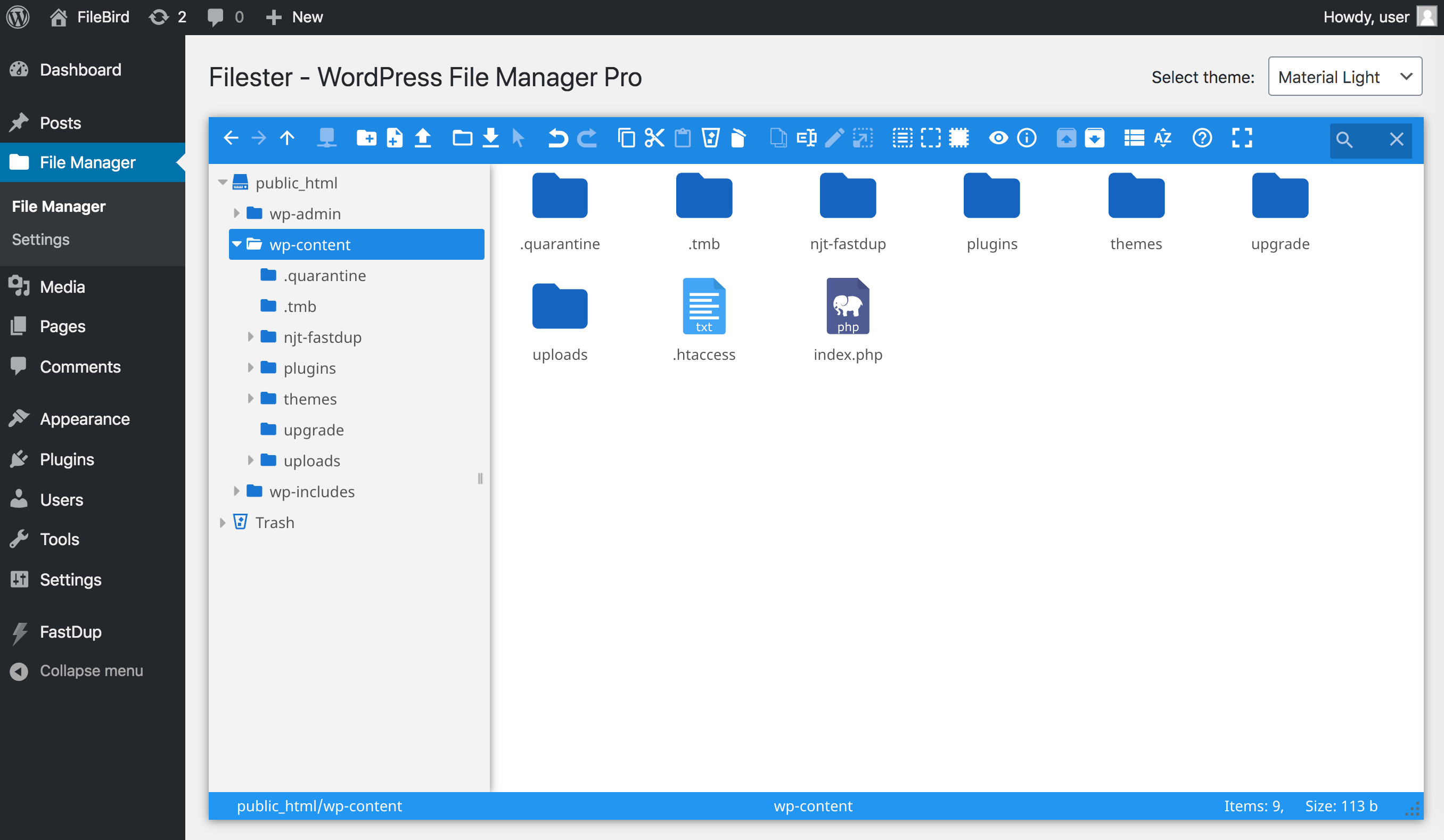 Filester file manager pro user interface