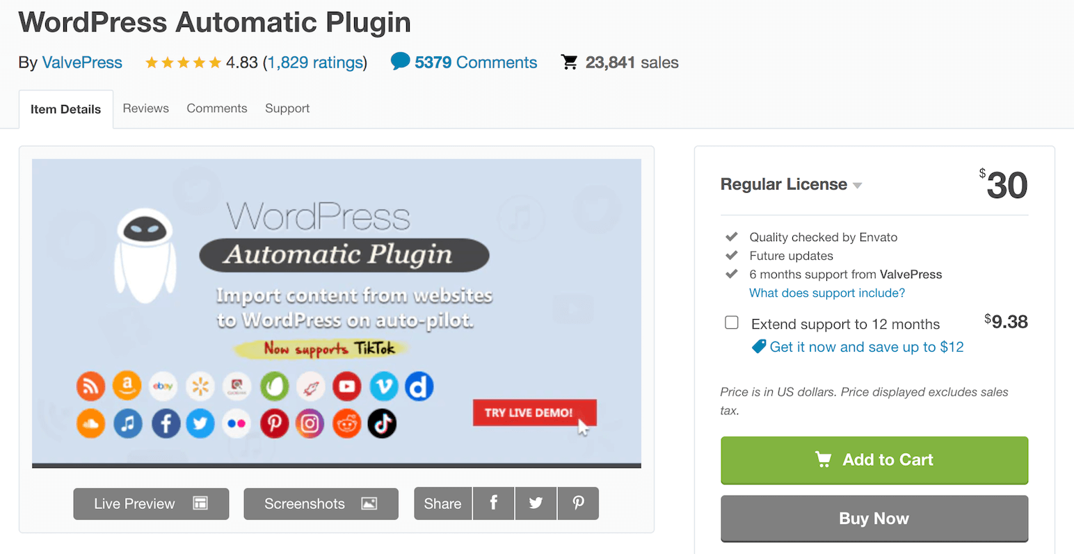 WordPress Automatic Plugin used in auction site