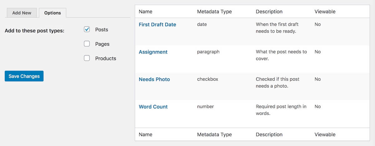 editorial metadata settings in wordpress