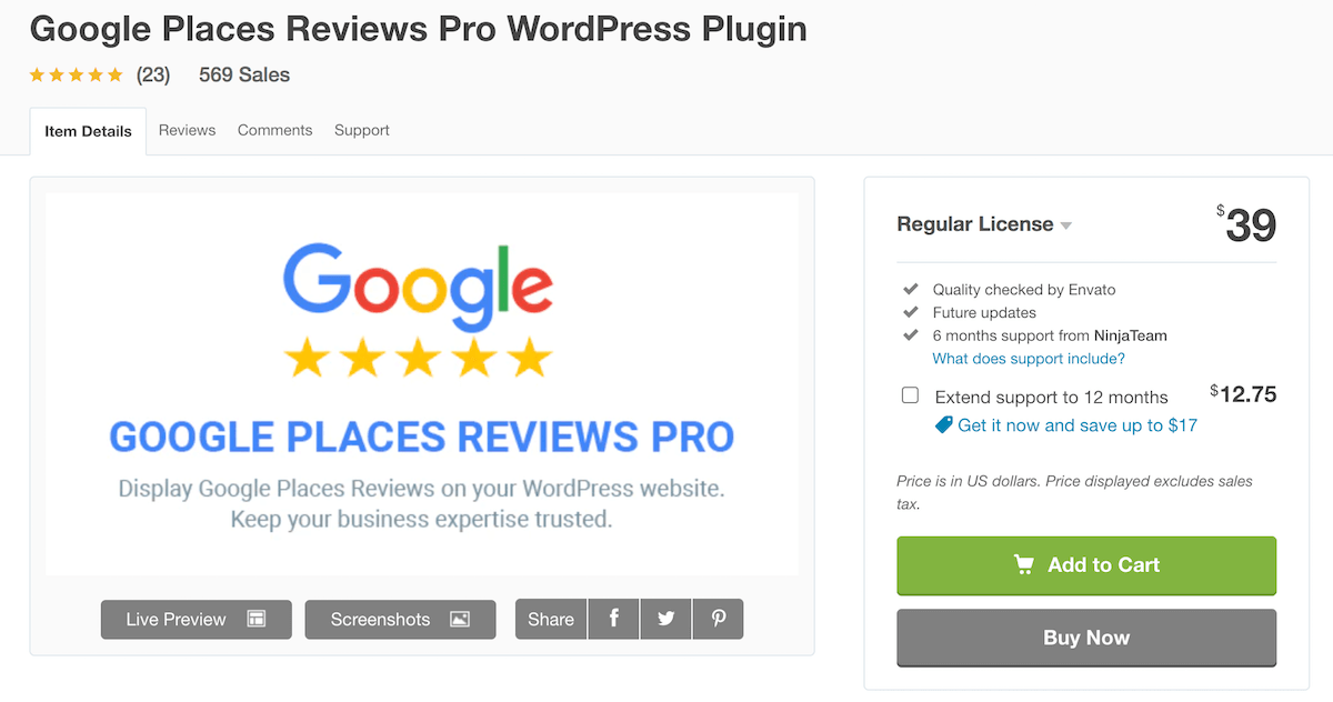 Google Places Reviews Pro WordPress Plugin