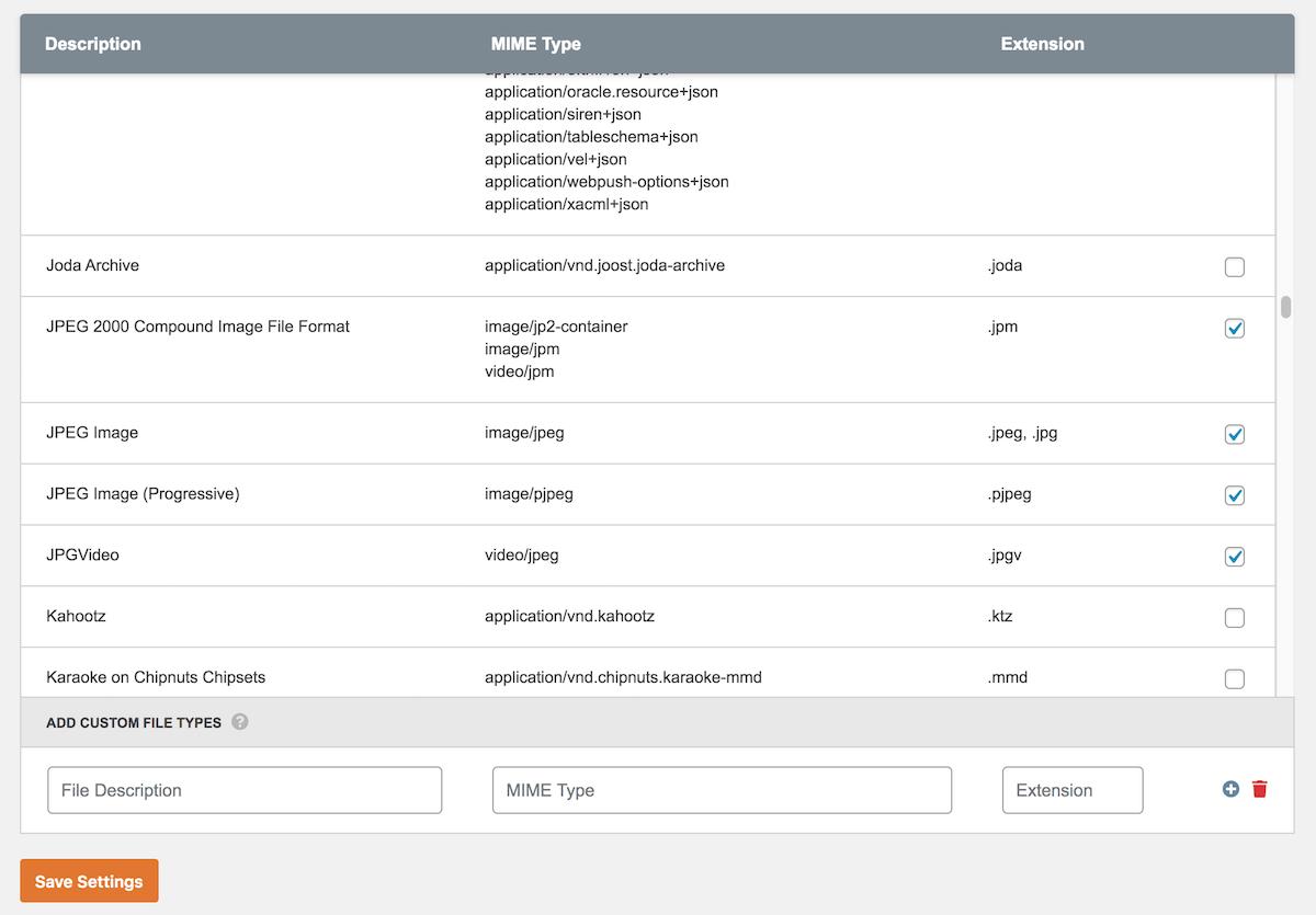 Categorized File Type list in Upload Plugin