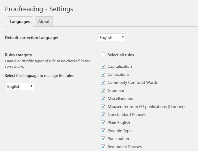 Settings of Proofreading plugin