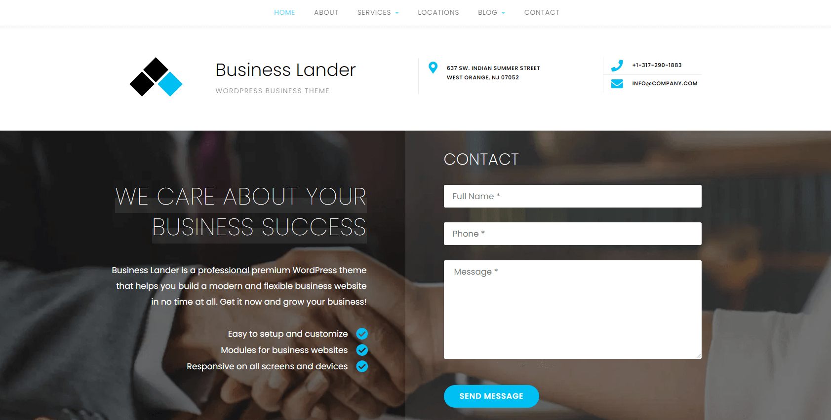 Business lander free theme