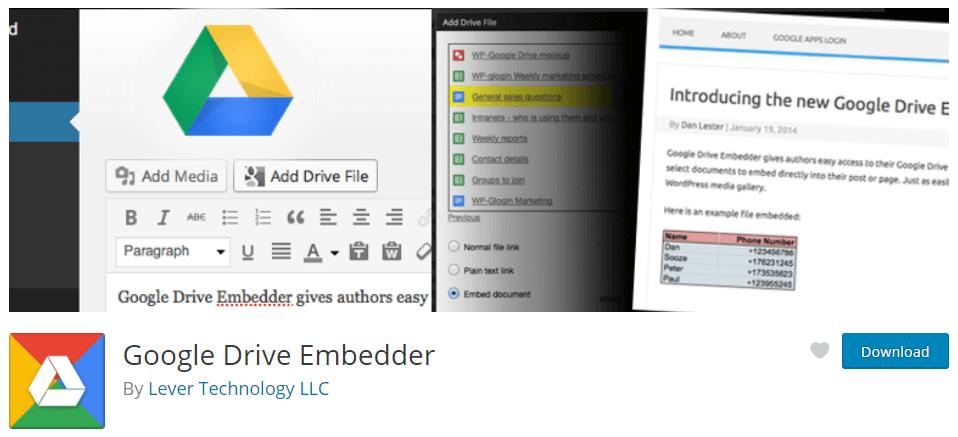 Google drive embedded