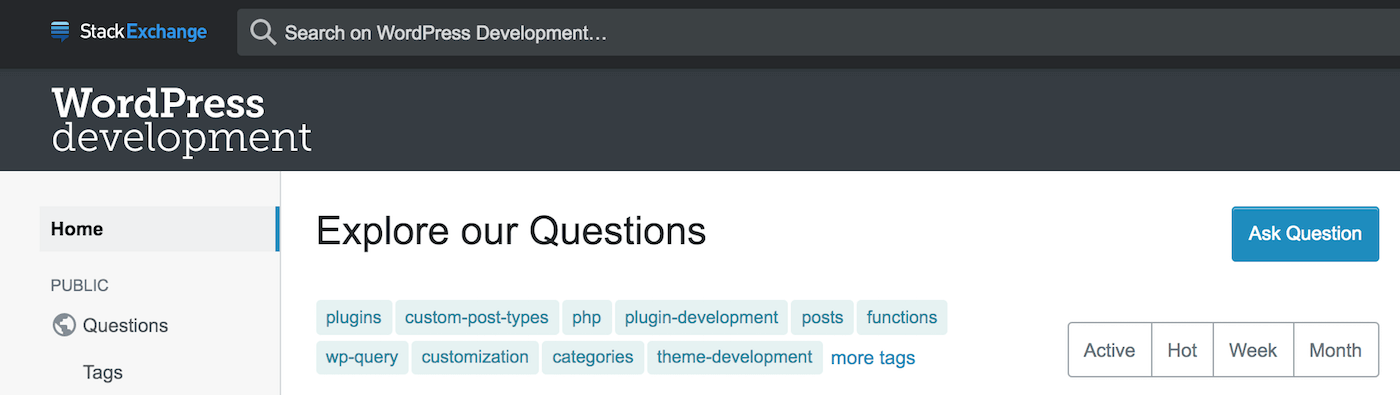 WordPress development support forum