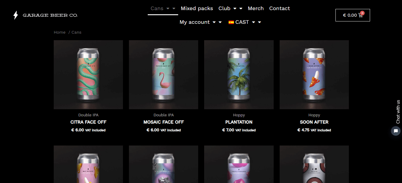 A beer factory shop page using Woo