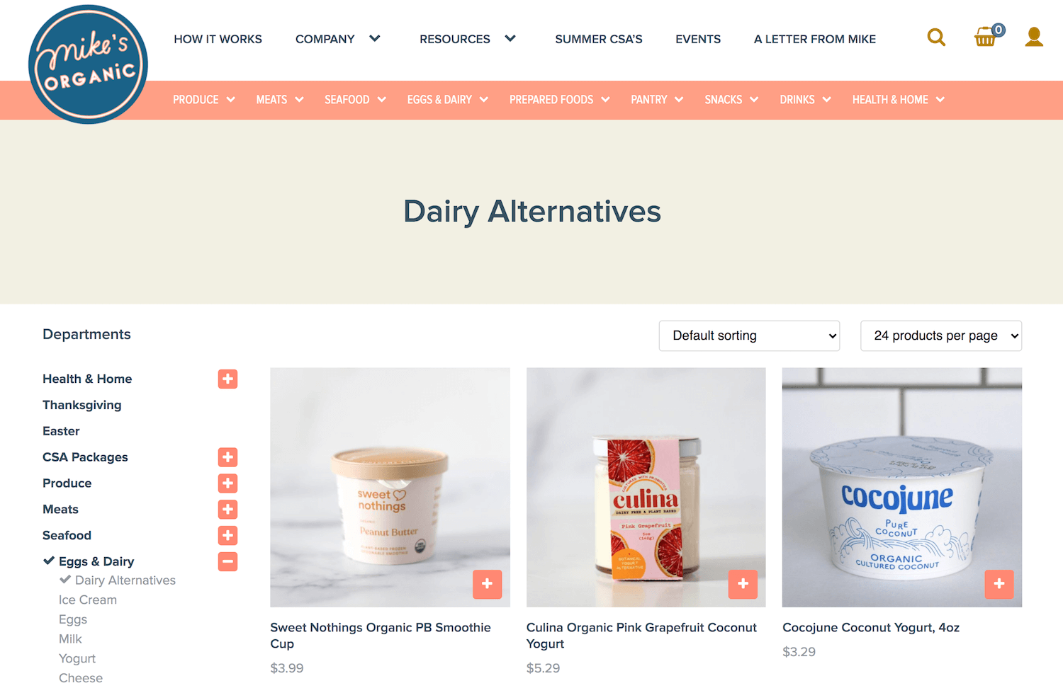 Dairy products shop page