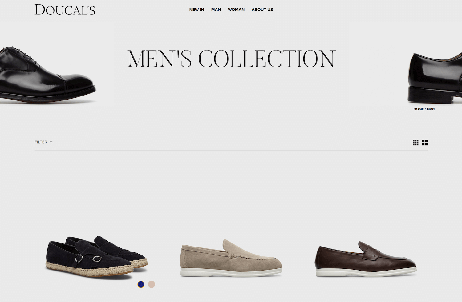 Doucal shoes shop page by WooCommerce
