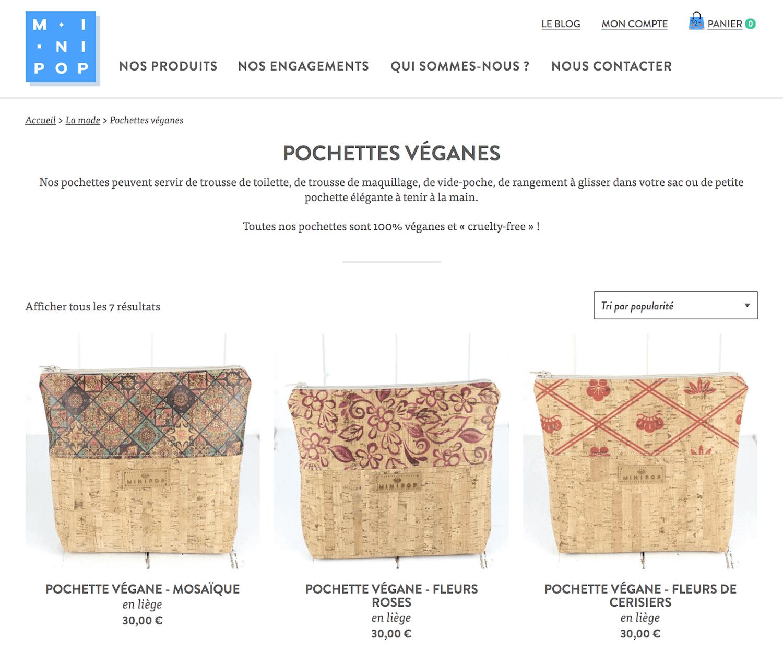 Minipop products shop page
