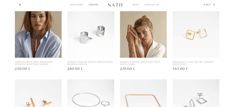 NATIF jewelry shop page