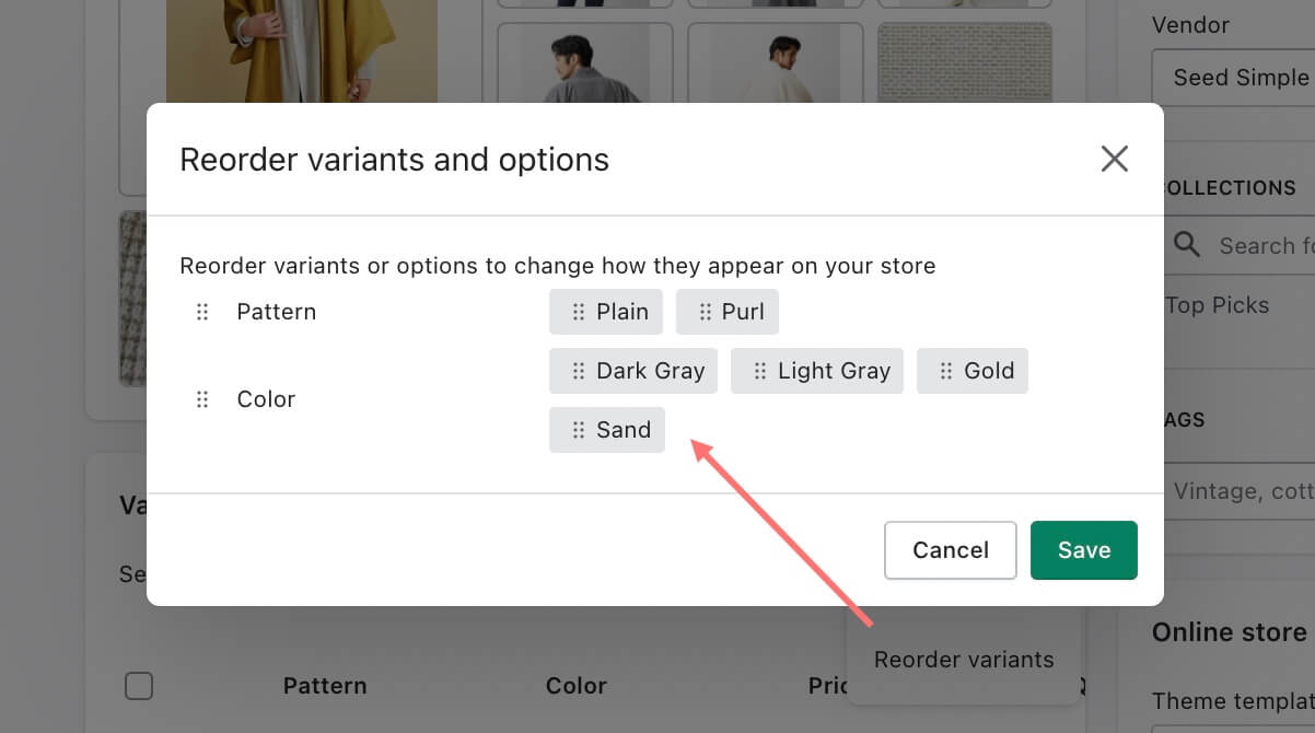 Drag and drop to reorder variants in Shopify product page