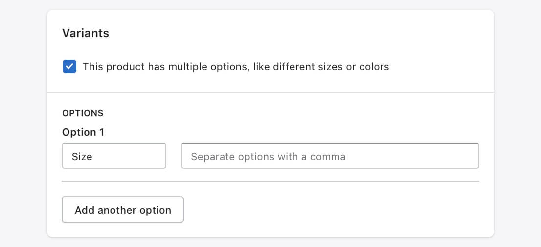 Enable variation for Shopify product