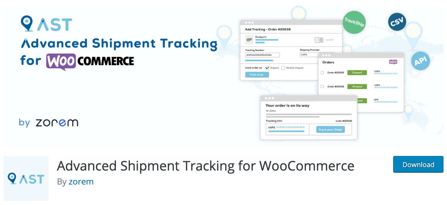 Advanced Shipment Tracking for WooCommerce by zorem