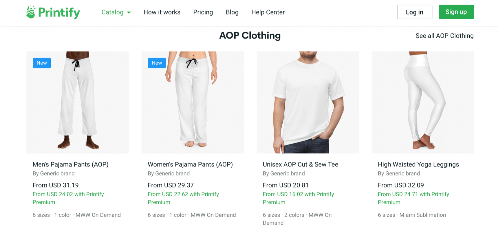 Printify print on demand clothing and other products